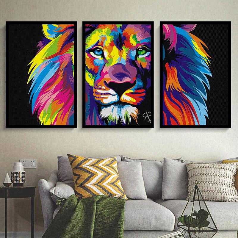 Conjunto 3 Quadros Decorativos Leão Colorido