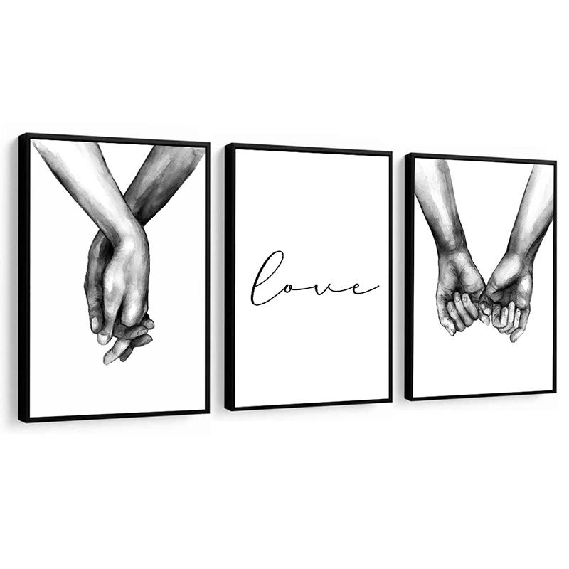 Conjunto 3 Quadros Decorativos Love Preto E Branco