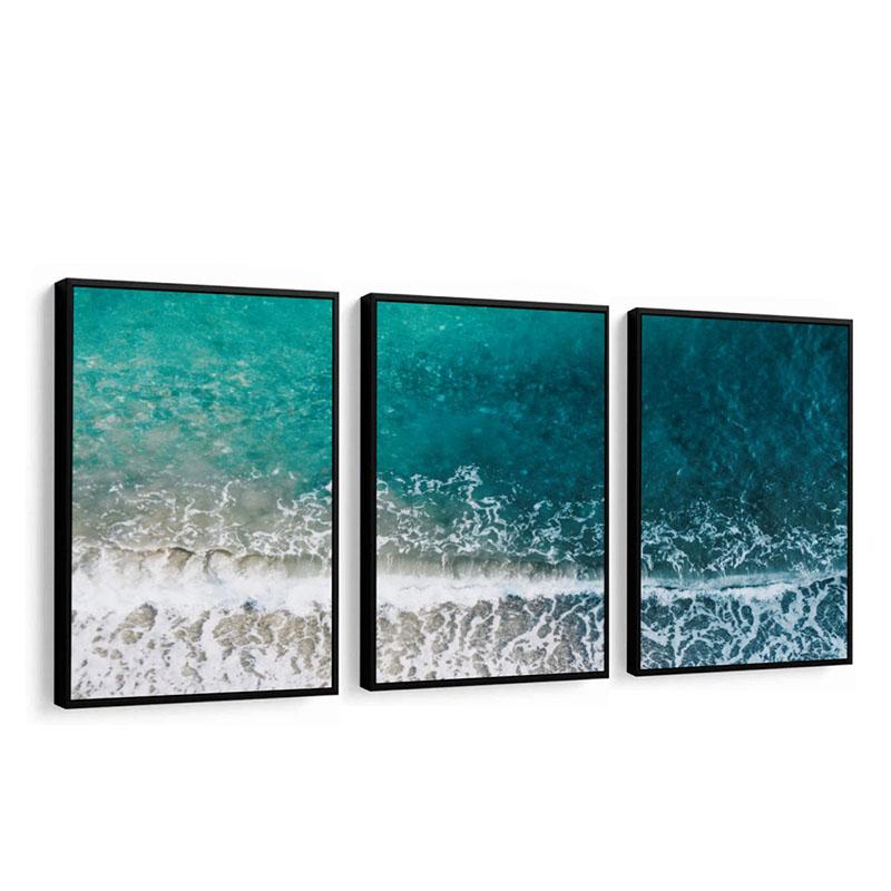 Conjunto 3 Quadros Decorativos Mar Azul