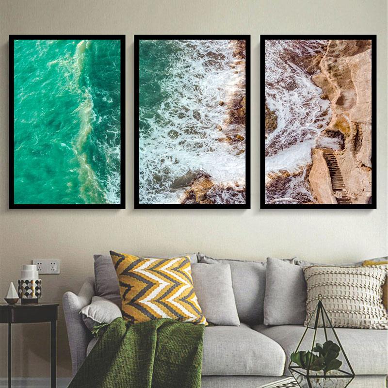 Conjunto 3 Quadros Decorativos Mar e Ondas