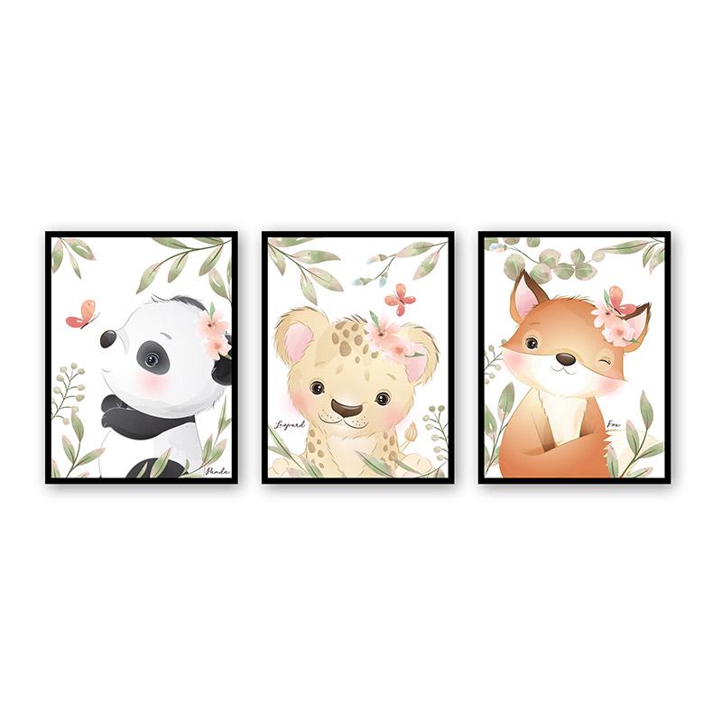 Conjunto 3 Quadros Decorativos Animais Babys 04