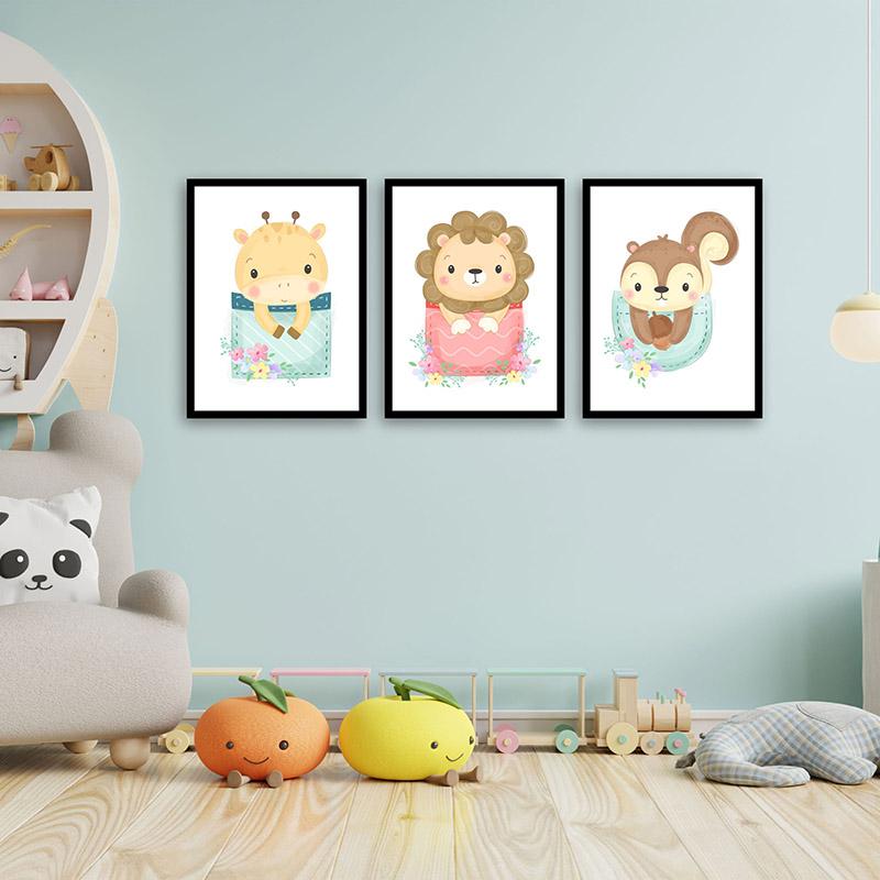 Conjunto 3 Quadros Decorativos Animais Babys 02