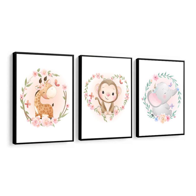 Conjunto 3 Quadros Decorativos Animais Babys