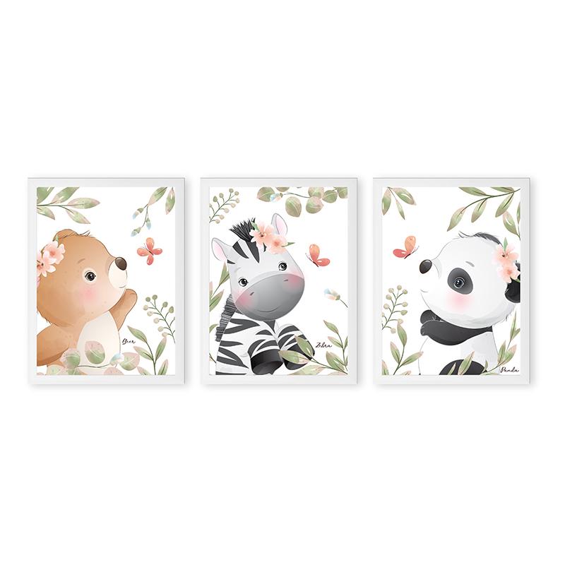 Conjunto 3 Quadros Decorativos Animais Babys 05