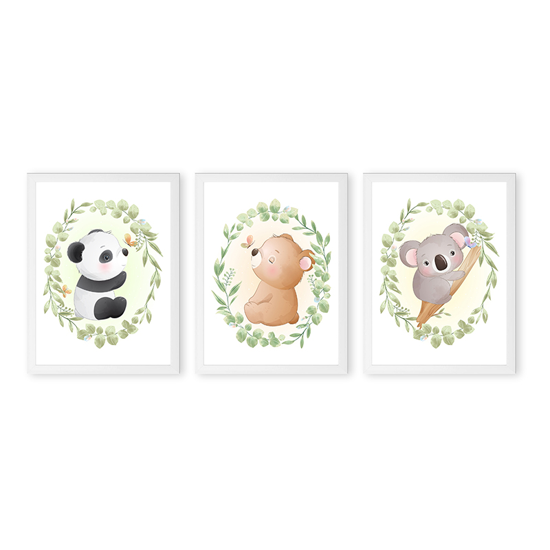 Conjunto 3 Quadros Decorativos Animais Babys 08