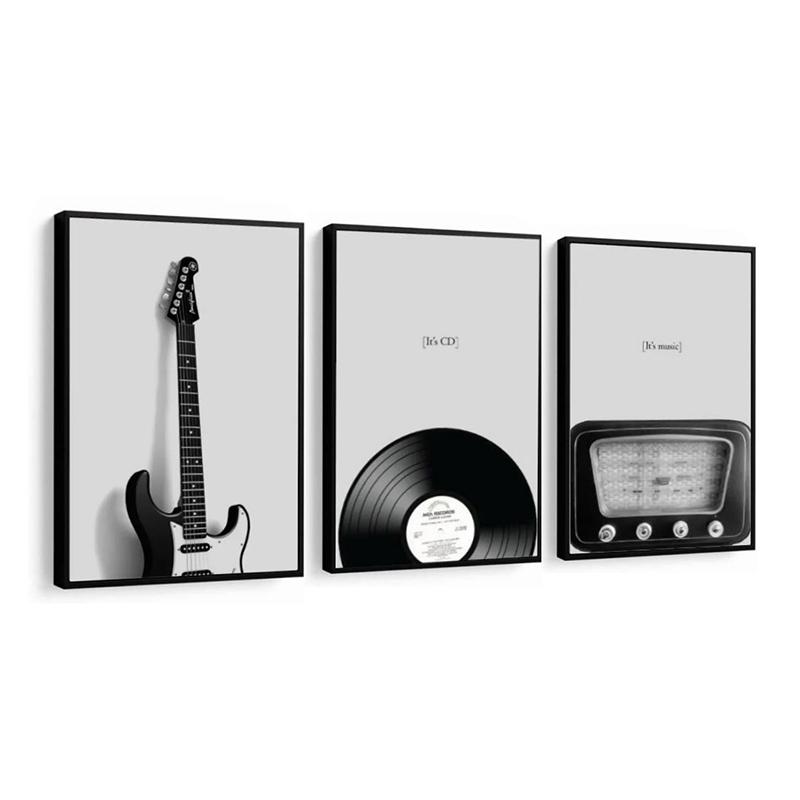 Conjunto 3 Quadros Decorativos Música Rock