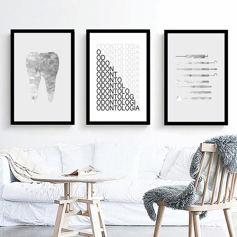 Conjunto 3 Quadros Decorativos Odontologia
