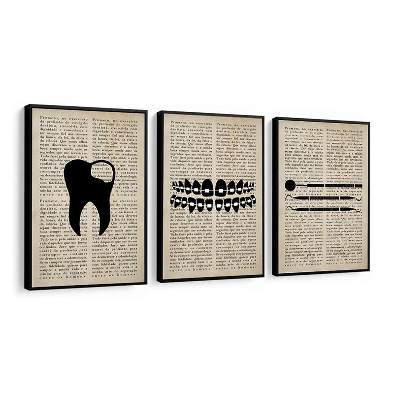 Conjunto 3 Quadros Decorativos Odontologia Preto