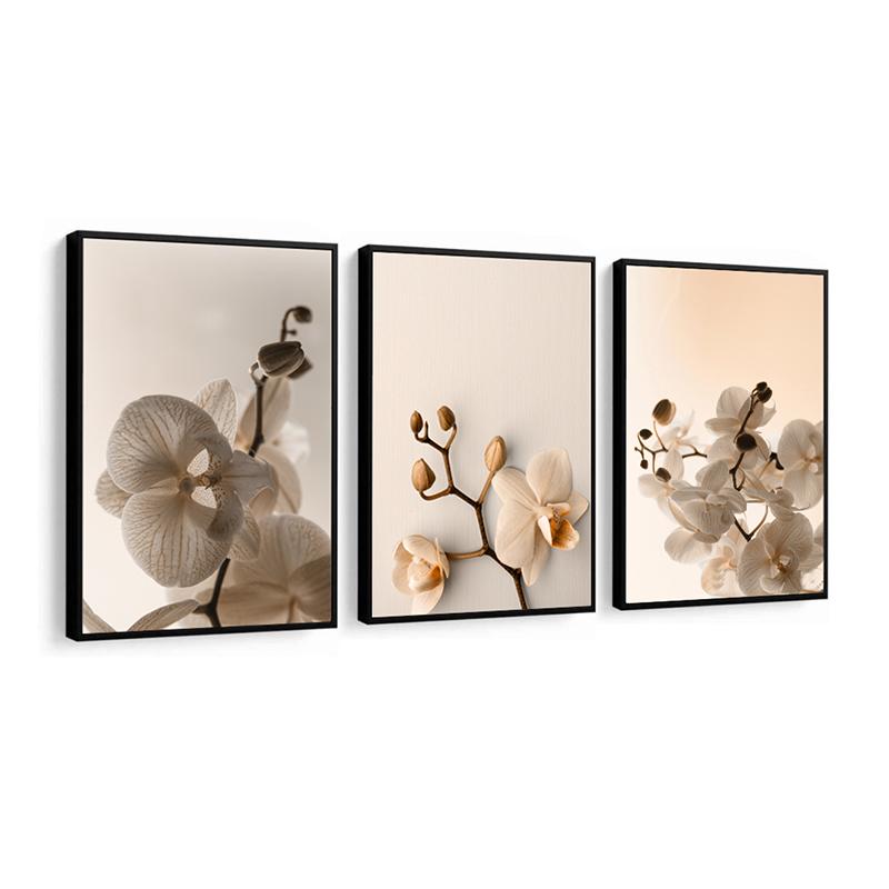 Conjunto 3 Quadros Decorativos Orquídeas
