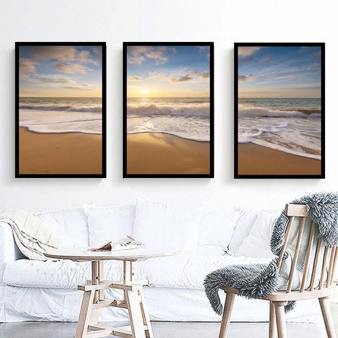 Conjunto 3 Quadros Decorativos Paisagem Praia e Mar