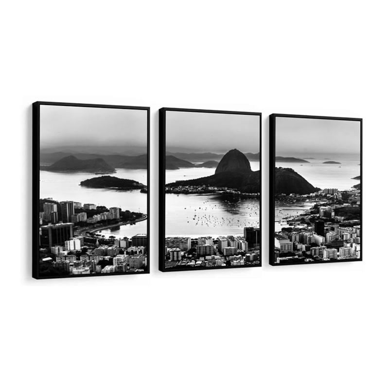 Conjunto 3 Quadros Decorativos Paisagem Rio De Janeiro