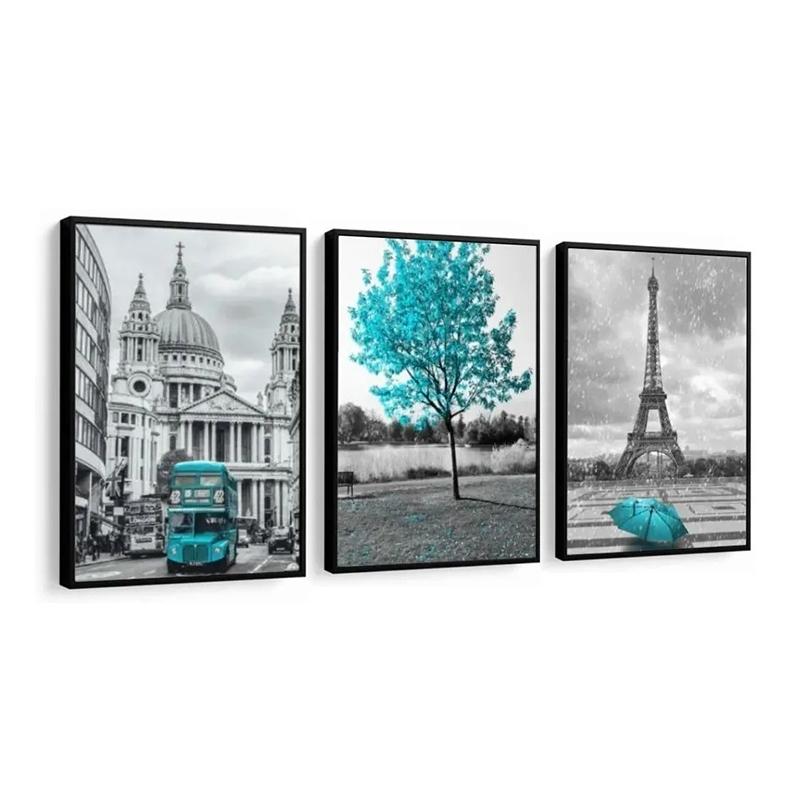 Conjunto 3 Quadros Decorativos Paris e Londres Azul