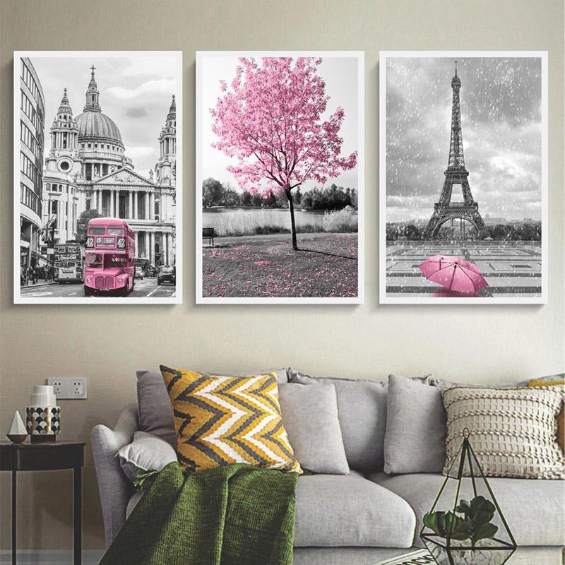 Conjunto 3 Quadros Decorativos Paris E Londres Rosa