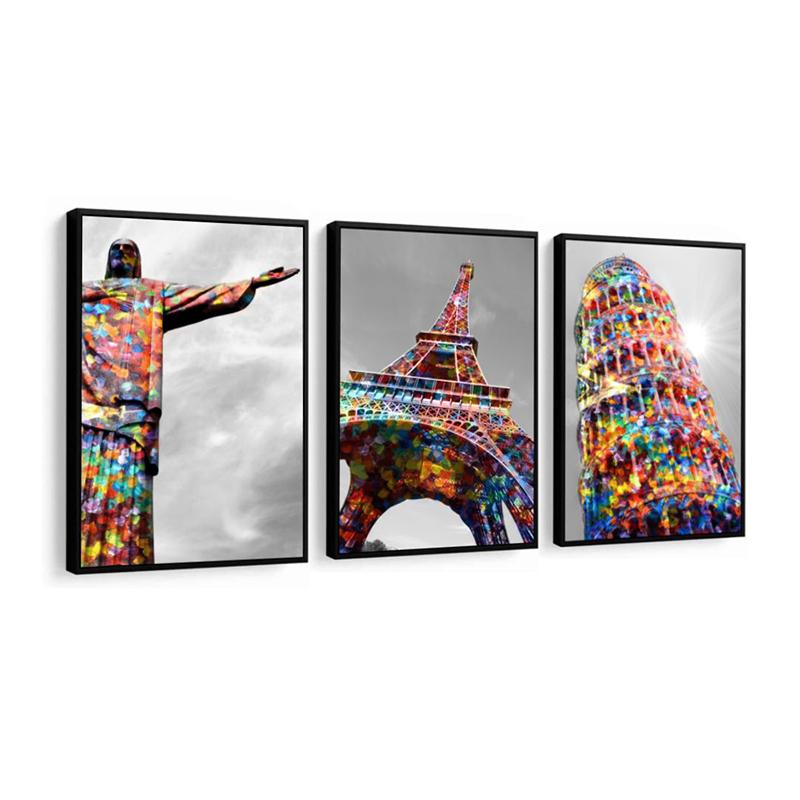 Conjunto 3 Quadros Decorativos Pontos Turísticos Coloridos