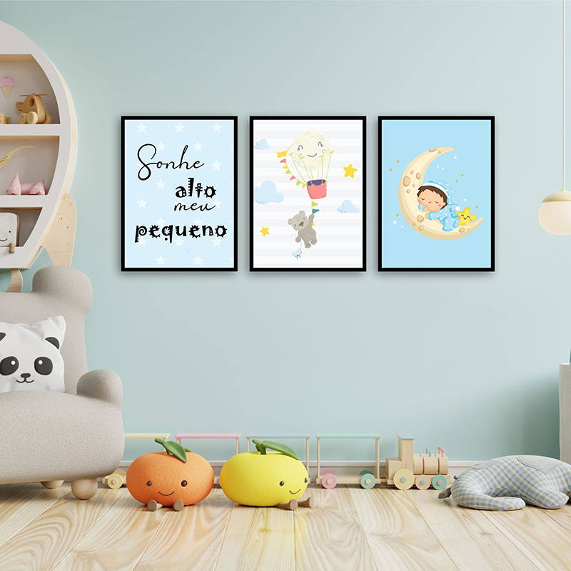 Conjunto 3 Quadros Decorativos Sonhos