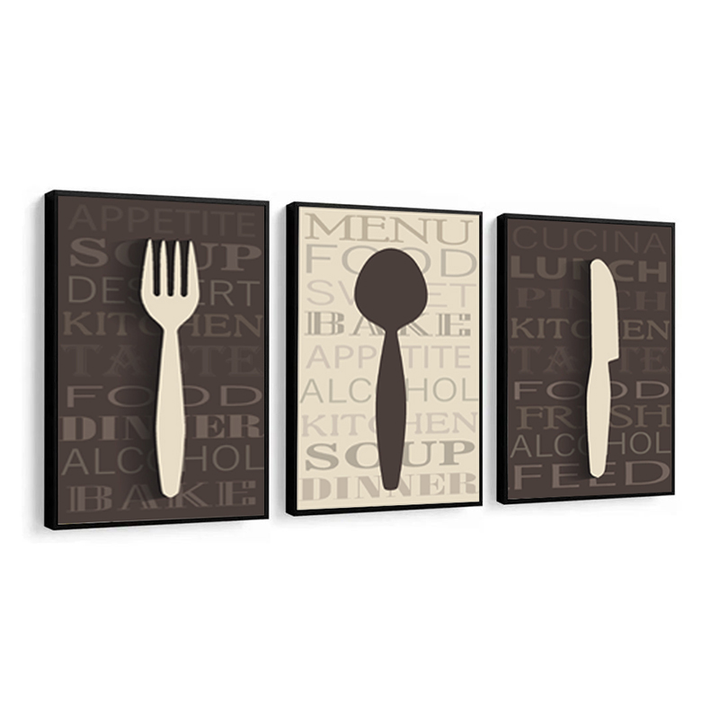 Conjunto 3 Quadros Decorativos Talheres Cozinha