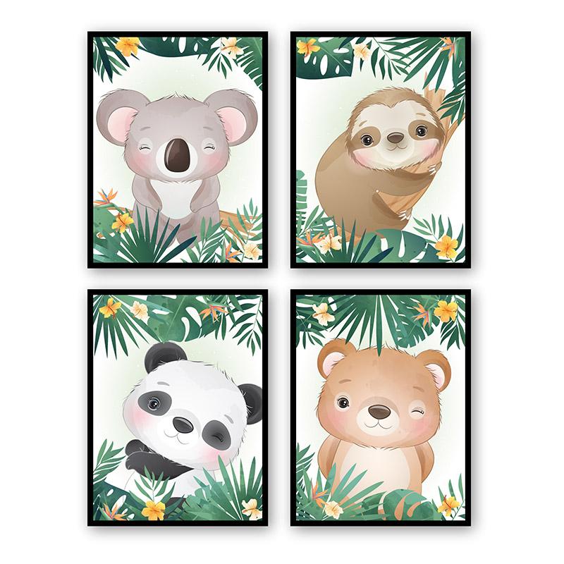 Conjunto 4 Quadros Decorativos Animais Babys 08