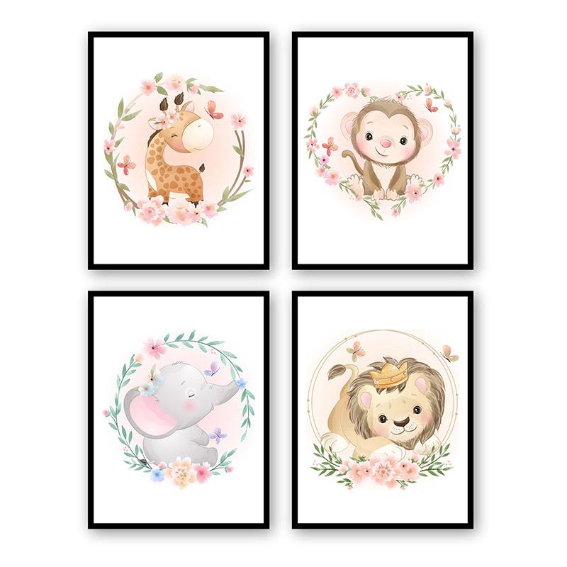 Conjunto 4 Quadros Decorativos Animais Babys 09