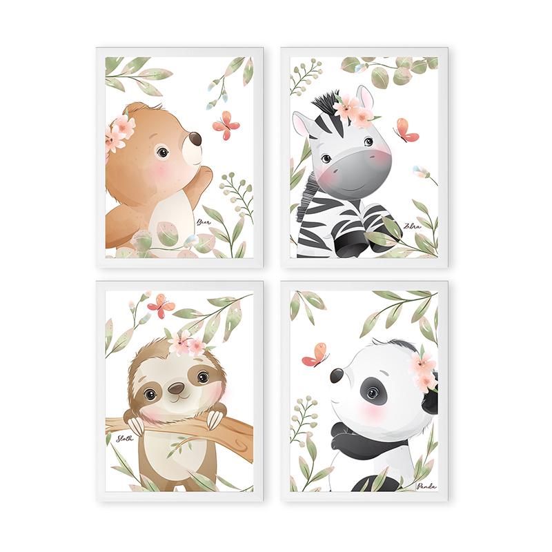 Conjunto 4 Quadros Decorativos Animais Babys 11