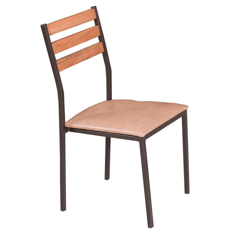 Conjunto Açaí Mesa em Madeira e Aço 80 cm e 04 Cadeiras Estofadas 543 Modecor
