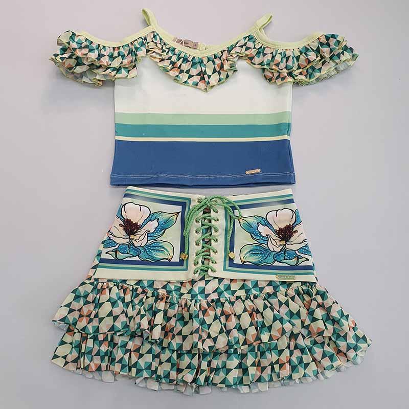 Conjunto Infantil Saia e Blusa Estampa Flor Verde Kukixo
