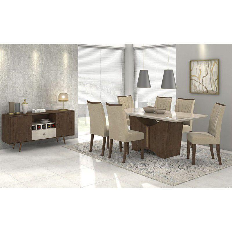 Conjunto Completo Sala De Jantar Mesa 180 Cm Rock 06 Cadeiras Apogeu