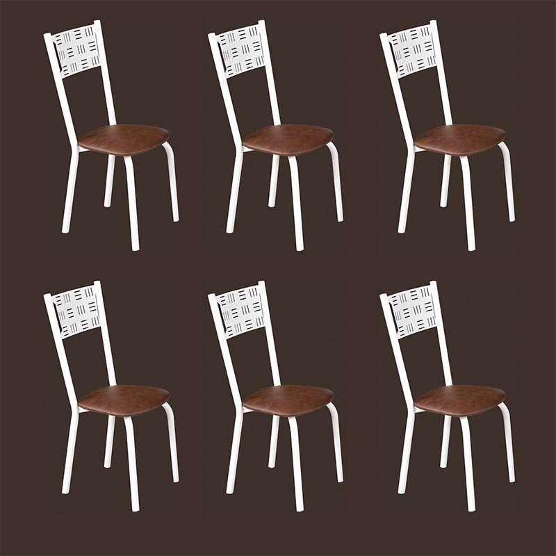 Conjunto para Sala de Jantar Ipê Mesa em Madeira 110 cm Branca e 06 Cadeiras Modelo 551
