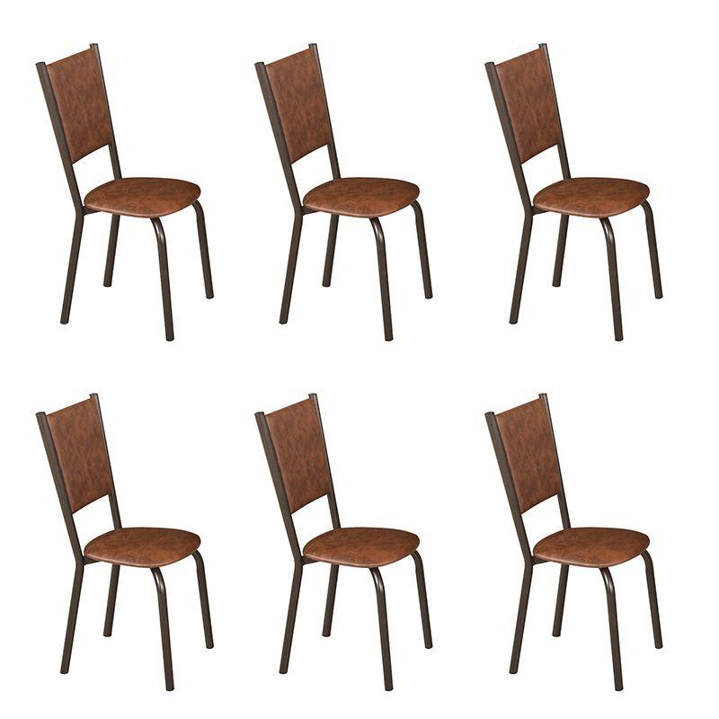 Conjunto para Sala de Jantar Ipê Mesa em Madeira 140 cm Café e 06 Cadeiras Modelo 562