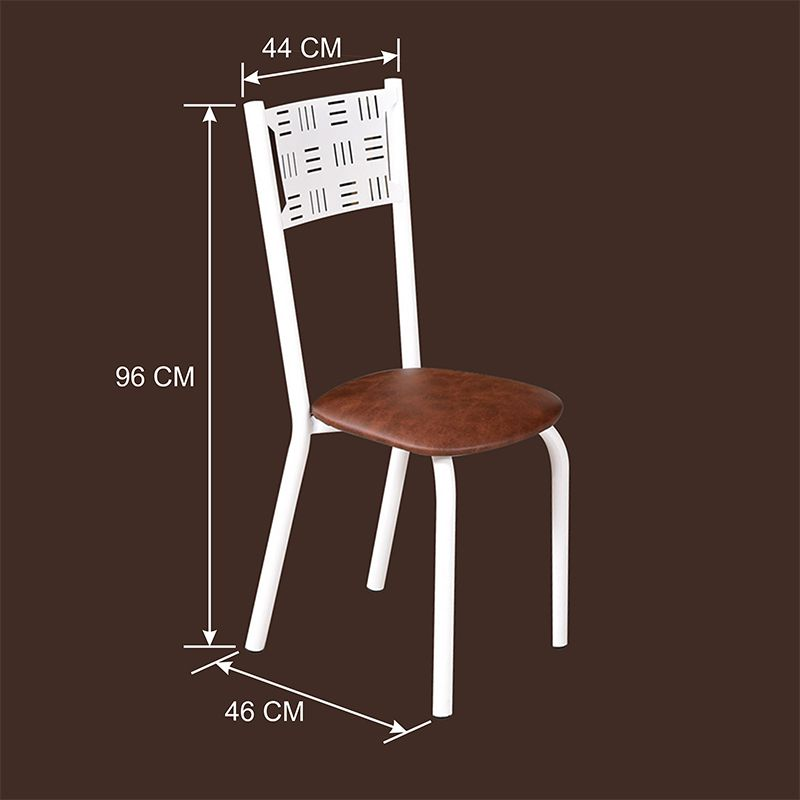 Conjunto para Sala de Jantar Ipê Mesa em Madeira 80 cm Branca e 04 Cadeiras Modelo 551