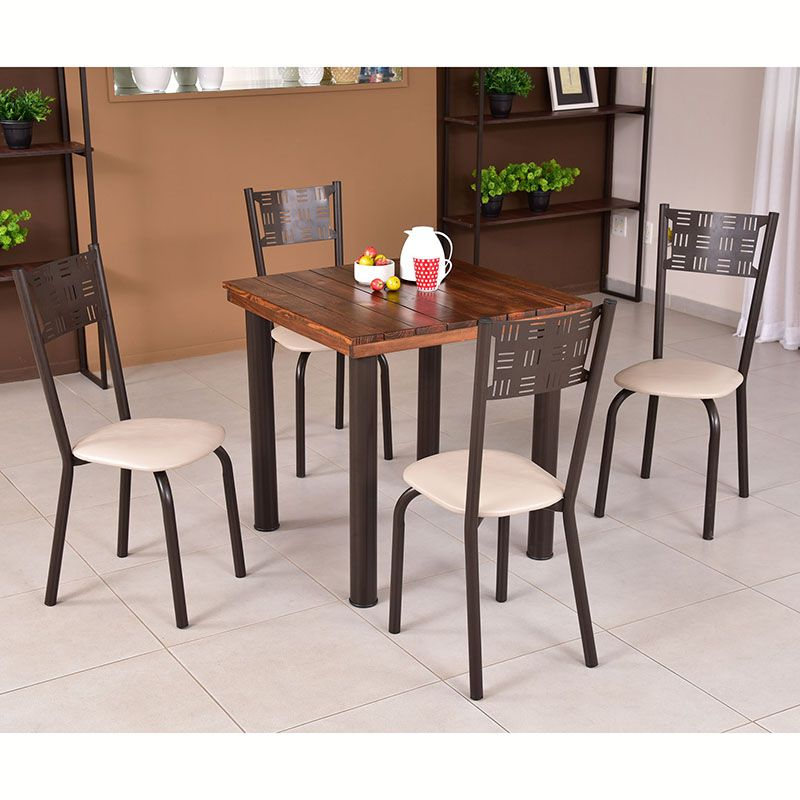 Conjunto para Sala de Jantar Ipê Mesa em Madeira 80 cm Café e 04 Cadeiras Modelo 551