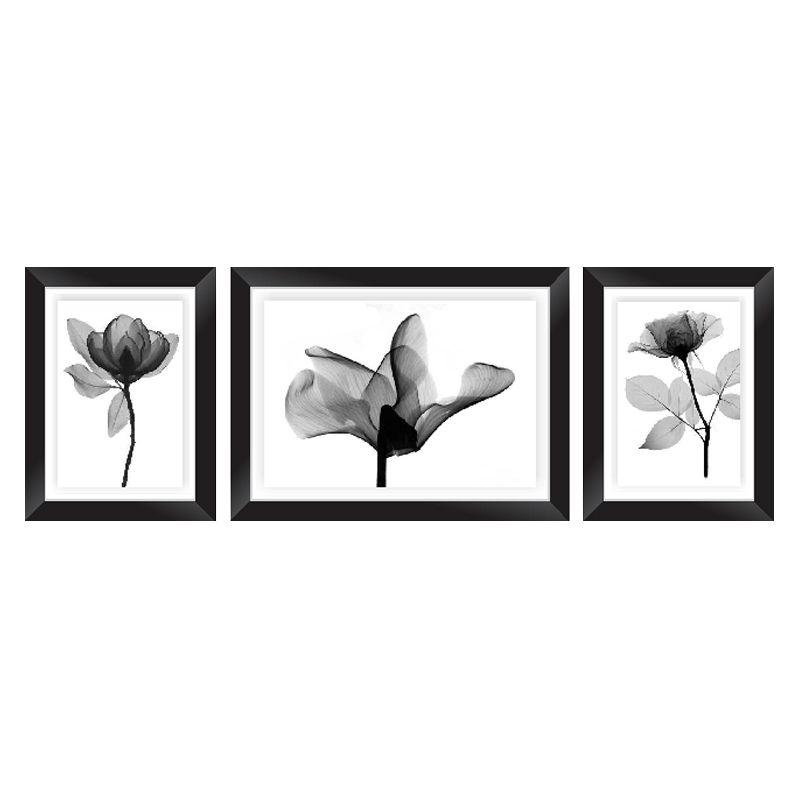 Conjunto Quadros Decorativos com Moldura e Vidro Black Flowers