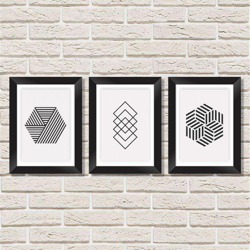 Conjunto Quadros Decorativos com Moldura e Vidro Padrão Geométrico