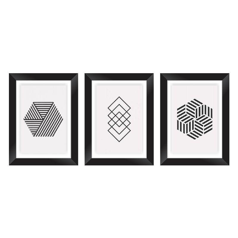 40070dd31 ... Conjunto Quadros Decorativos com Moldura e Vidro Padrão Geométrico - Minha  Casa Merece ...