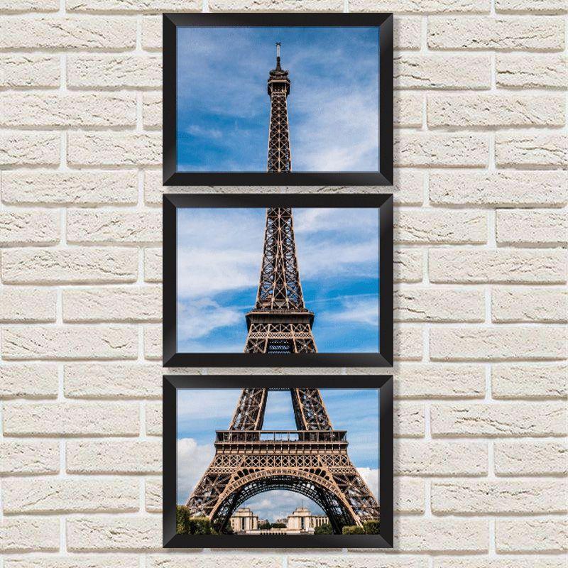 074796fccce3bf Conjunto Quadros Decorativos com Moldura e Vidro Torre Eiffel C013 - Minha  Casa Merece ...