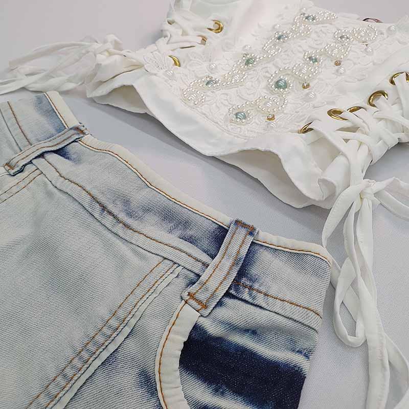 Conjunto Infantil Saia Jeans e Blusa Bordada Kukixo