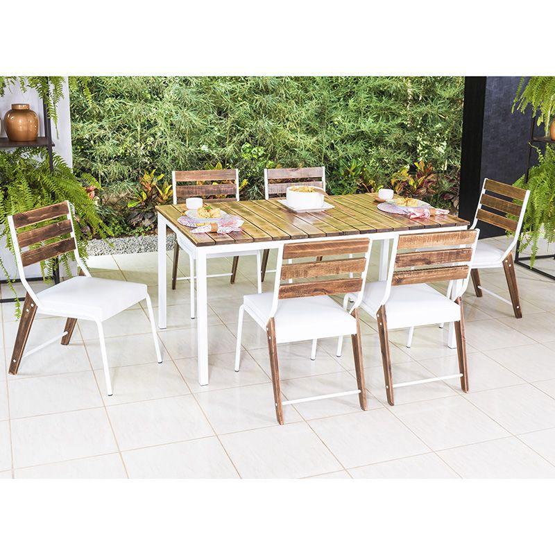 Conjunto Sala de Jantar Bromélia Mesa em Madeira estilo Demolição 160 cm Branca e 06 cadeiras Modelo 823