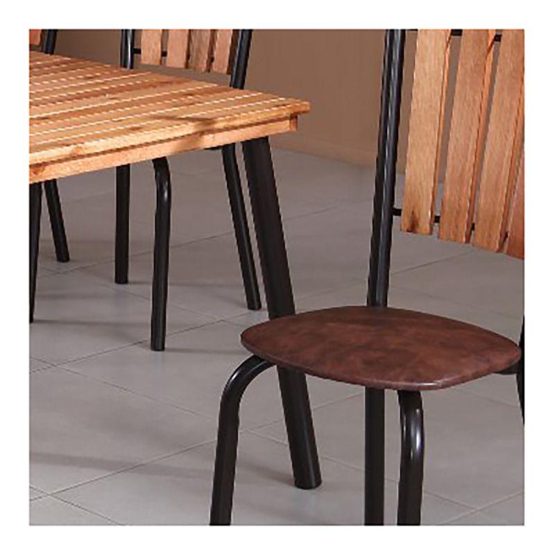Conjunto Sala De Jantar Cacau Mesa Em Madeira E Aço 140 Cm Café E 06 Cadeiras Modelo 417