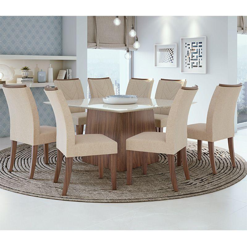 Conjunto Sala de Jantar Mesa Nevada 130 cm 08 Cadeiras Atacama Lopas