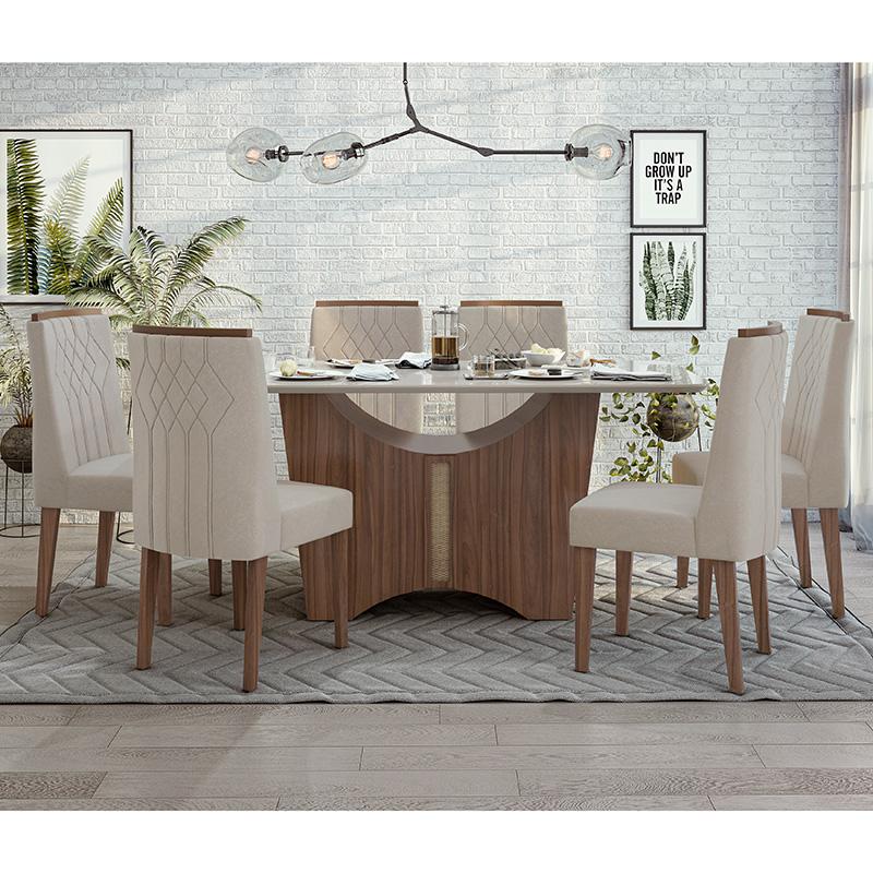 Conjunto Sala De Jantar Rock Mesa 170 Cm E 06 Cadeiras Exclusive Lopas