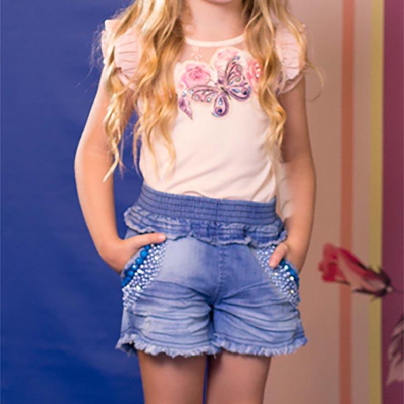 Conjunto Infantil Short Jeans Bordado e Blusa Borboleta Kukixo