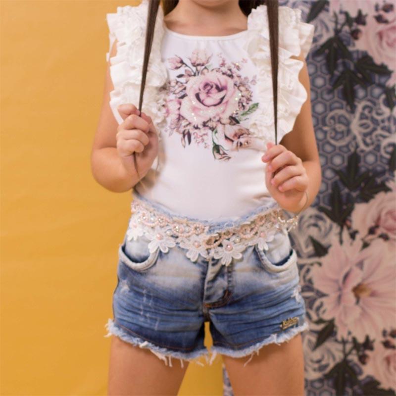 Conjunto Infantil Short Jeans Bordado e Blusa com detalhe Kukixo