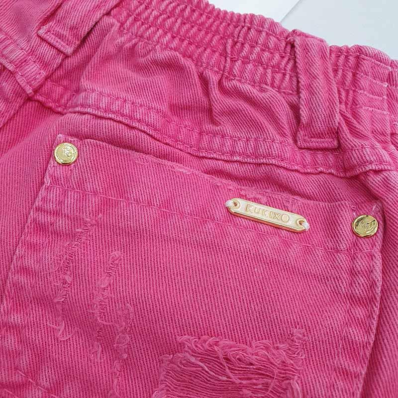 Conjunto Infantil Short Jeans e Blusa Plissada com Bordados Kukixo