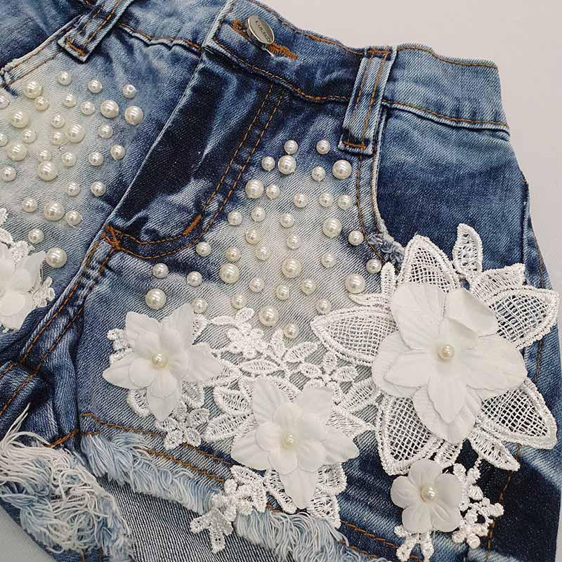 Conjunto Infantil Short Jeans Bordado e Blusa Lurex Kukixo