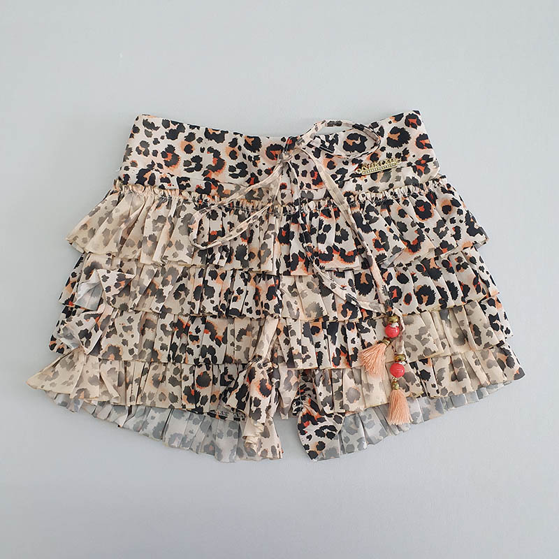 Conjunto Infantil Short e Blusa Estampa Onça com Rosa Kukixo