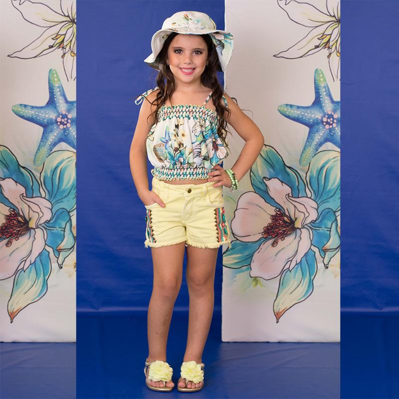 Conjunto Infantil Short Jeans e Blusa Cropped Estampa Mar Kukixo