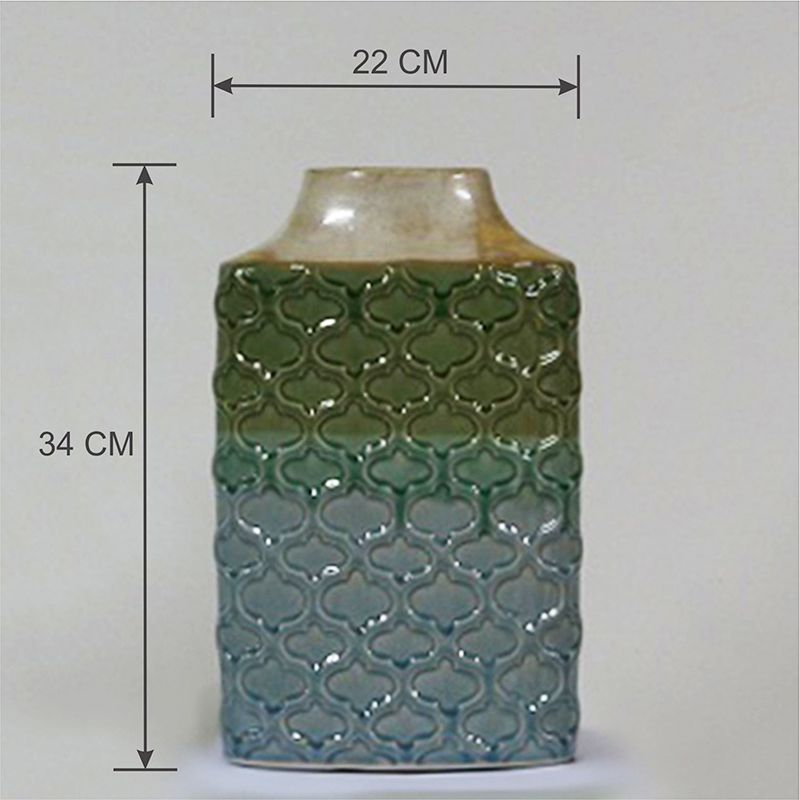 Conjunto Vasos Decorativo em Cerâmica alto relevo Azul e Verde