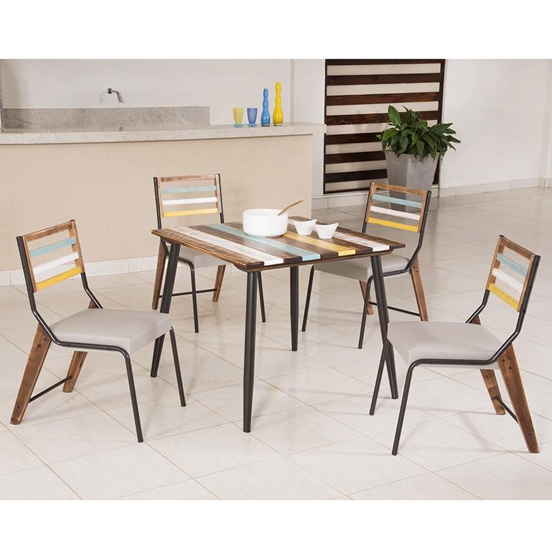 Conj. p/ s. jantar com mesa de madeira estilo demolição colorida 90 x 90 cm e 04 cadeiras 825