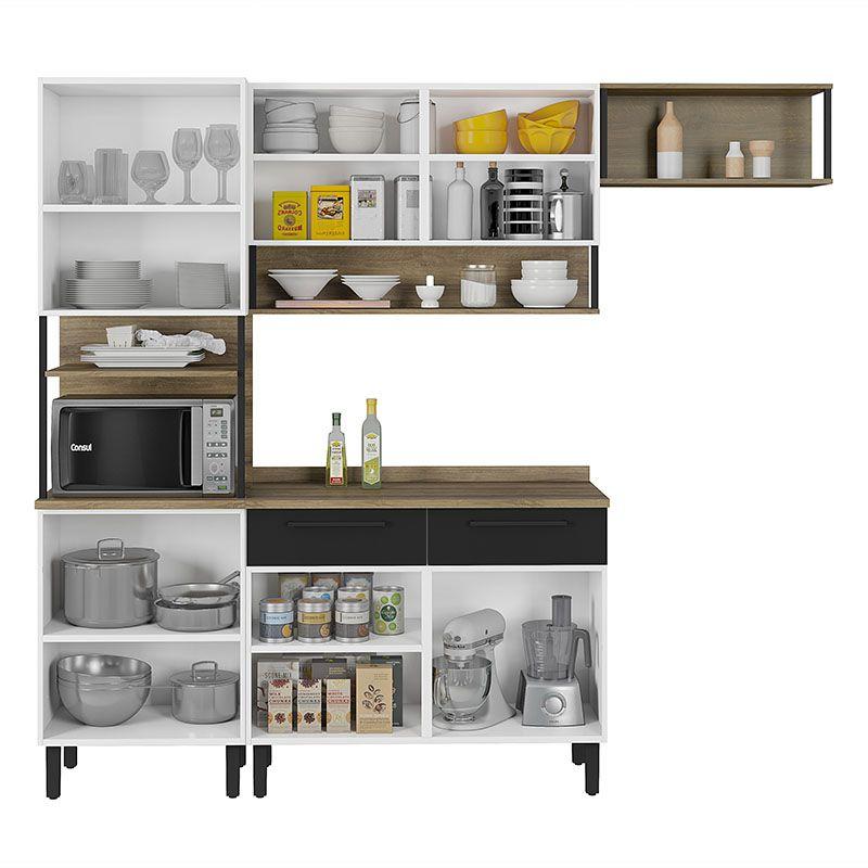 Cozinha 06 portas 02 gavetas e Nichos Bali Itatiaia