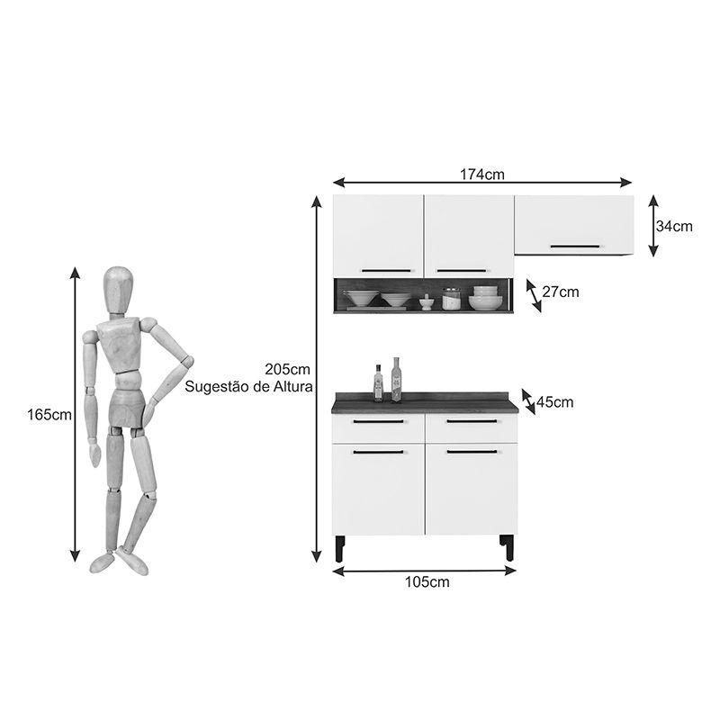 Cozinha Compacta 5 portas 2 gavetas Bali Itatiaia