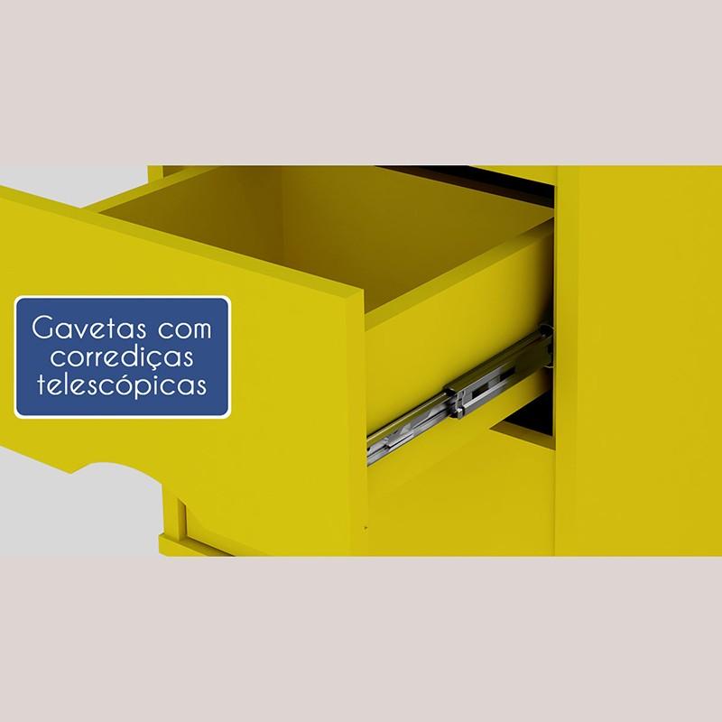 Criado Twister 2 gavetas - Amarelo/Branco